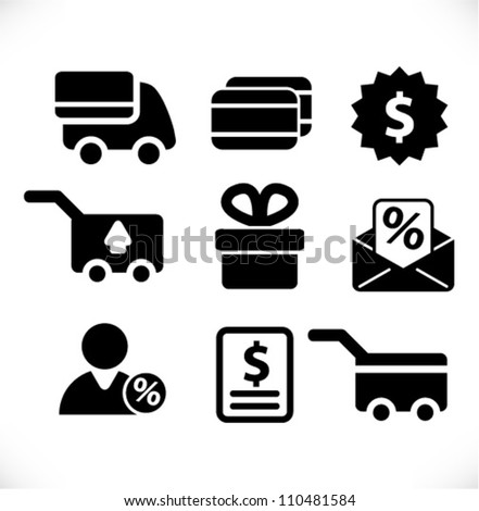 internet business, commerce, shop, shopping icons set - stock vector
