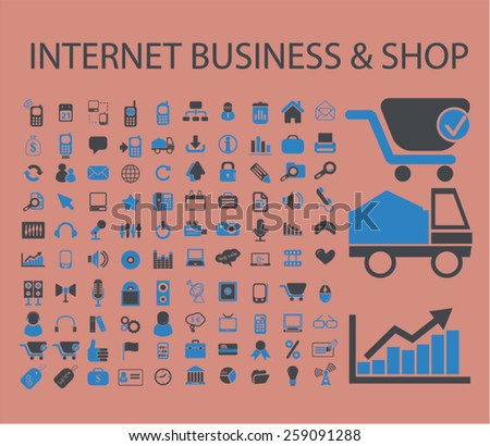 internet business, marketing, shop, retail icons, signs, illustrations concept design set, vector - stock vector
