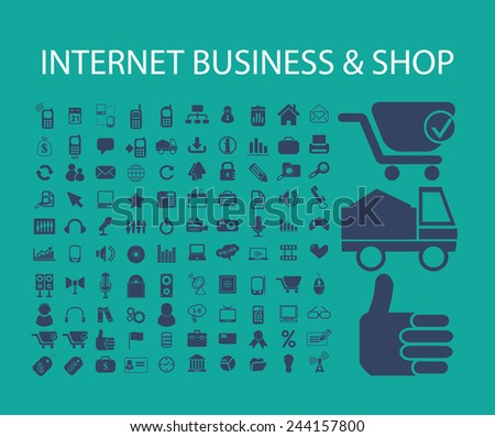 internet business, shop, ecommerce icons, signs, illustrations on background, vector set - stock vector