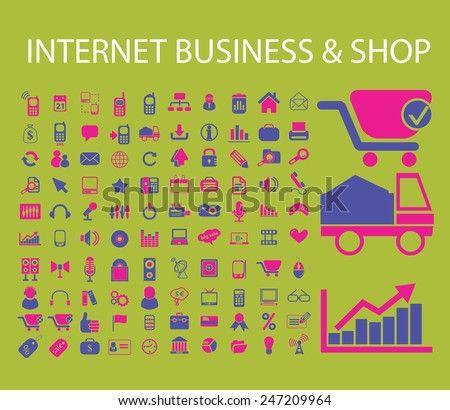 internet business, shop, store, logistics, factory, lorry, communication, connection, web, website icons, signs, illustrations set, vector - stock vector