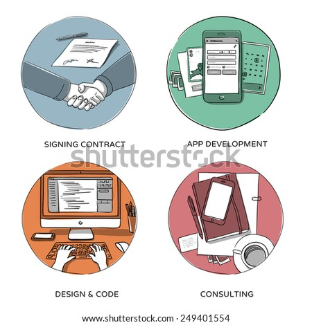 Internet business, website design & coding, mobile app development, consulting - set of hand drawn illustrations - stock vector