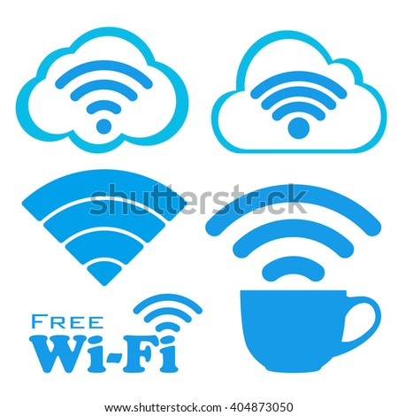 Internet cafe free wifi vector icons set. Coffee Cup Wireless Network icon. White and blue flat button with wi-fi symbol in cloud. Modern UI element. Vector illustration. - stock vector