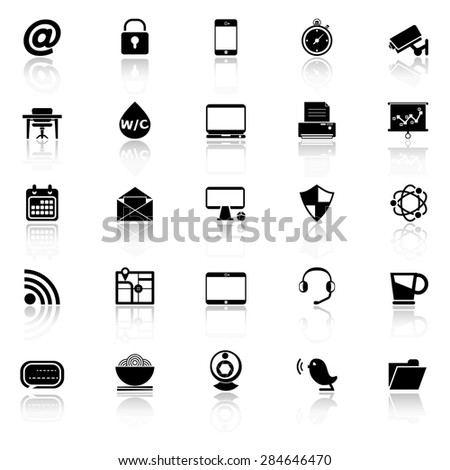 Internet cafe icons with reflect on white background, stock vector