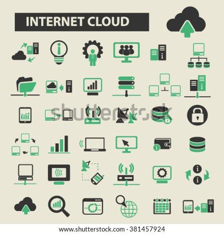 internet cloud icons, internet cloud logo, internet cloud vector, internet cloud flat illustration concept, internet cloud infographics, internet cloud symbols,   - stock vector