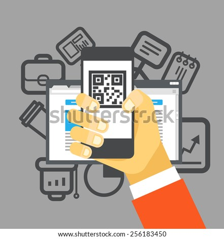 Internet commerce illustration. Flat design concept - stock vector