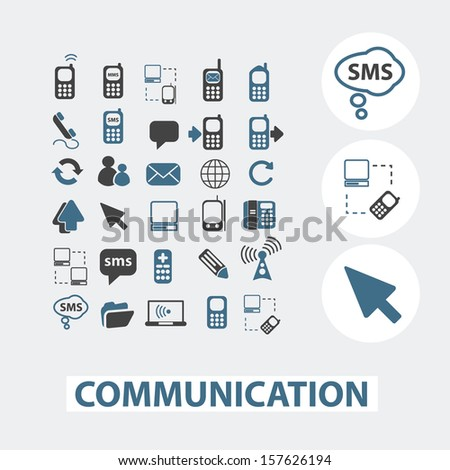 internet communication, connection icons set, vector