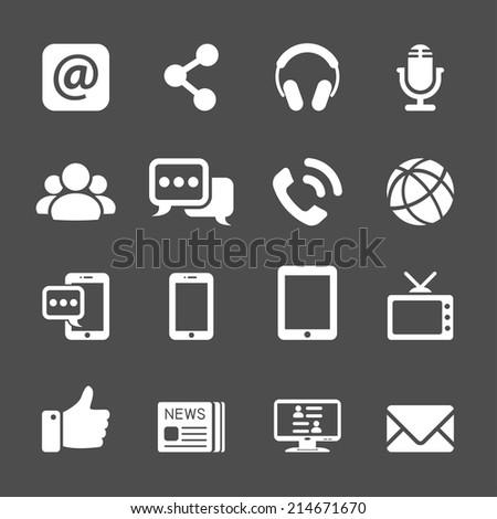 internet communication icon set, vector eps10. - stock vector