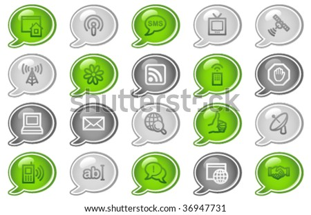 ... web icons, green and grey speech bubble series - stock vector