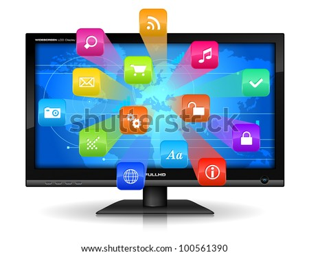 Internet concept: detailed vector illustration of widescreen TFT display with colorful application icons isolated on white background with reflection effect - stock vector