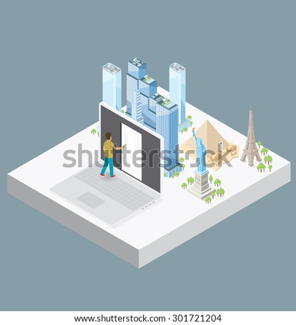 Internet Concept. Vector 3d flat isometric with door to the internet knowledge and encyclopedia - stock vector