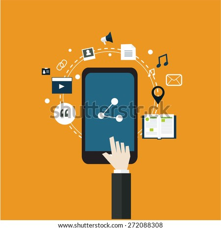 internet for share social media social network internet of things mobile strategy internet marketing flat design vector  - stock vector