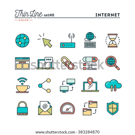 Internet, global network, cloud computing, free WiFi and more, thin line color icons set, vector illustration - stock vector