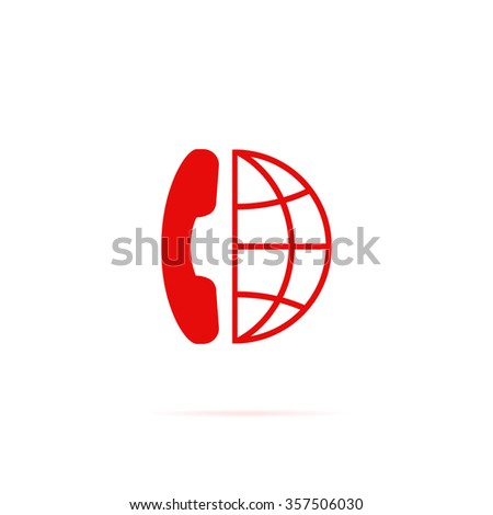 Internet Globe icon with phone. - stock vector
