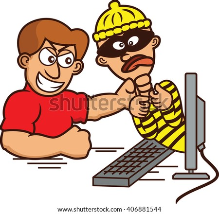 Internet Hacker Caught and Strangled Out of Computer Monitor Cartoon Illustration - stock vector