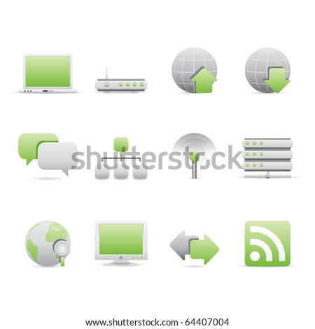 Internet icon set 2 � Bi Colored Series (Green and Gray).  Vector EPS 8 format, easy to edit. - stock vector