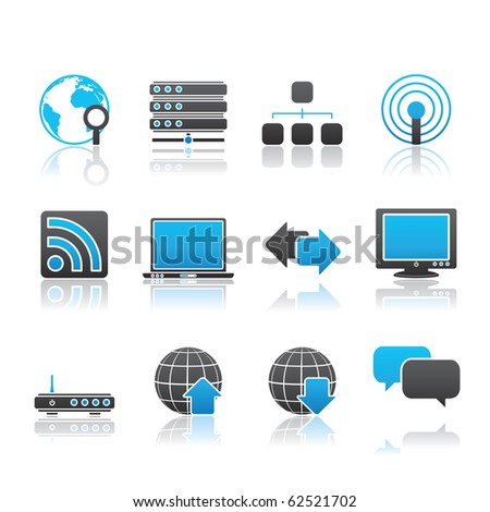 Internet icon set 2 � Blue Series.  Vector EPS 8 format, easy to edit. - stock vector