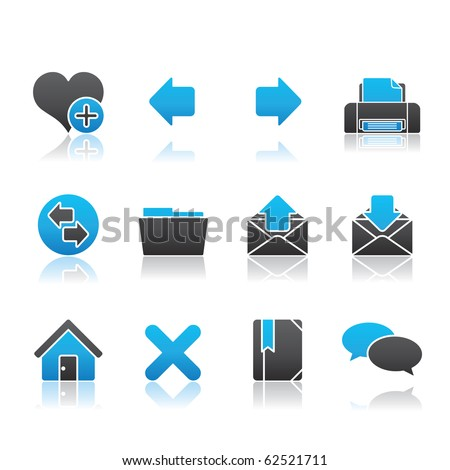 Internet icon set 1 � Blue Series.  Vector EPS8 format, easy to edit. - stock vector
