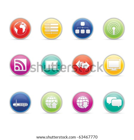 Internet icon set 2- Colored Buttons Series.  Vector EPS 8 format, easy to edit. - stock vector