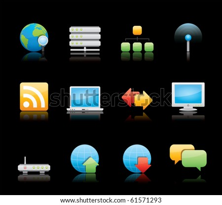 Internet icon set 2 - Glossy Series.  Vector EPS 8 format, easy to edit. - stock vector