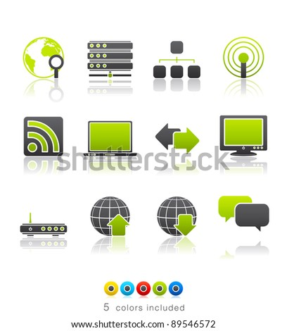 Internet icon set 2 – Multi Color Series.  Icon set in EPS8 format with high resolution JPEG EPS file contains five color variations in different layers - stock vector