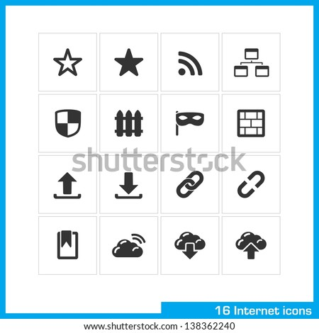 Internet icon set. Vector black pictograms for social web and mobile app, interface design: bookmark, star, RSS, sitemap, network, shield, fence, wall, privacy, link, cloud, download and upload symbol - stock vector