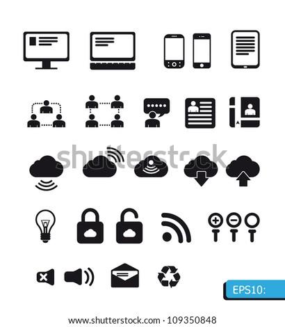 internet icon vector set - stock vector