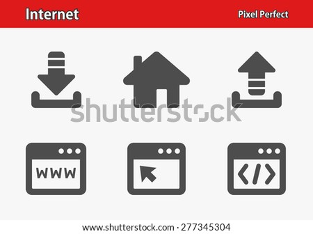 Internet Icons. Professional, pixel perfect icons optimized for both large and small resolutions. EPS 8 format. Designed at 32 x 32 pixels. - stock vector