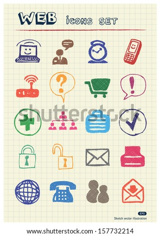 Internet icons set drawn by color pencils. Hand drawn vector elements pack isolated on paper - stock vector