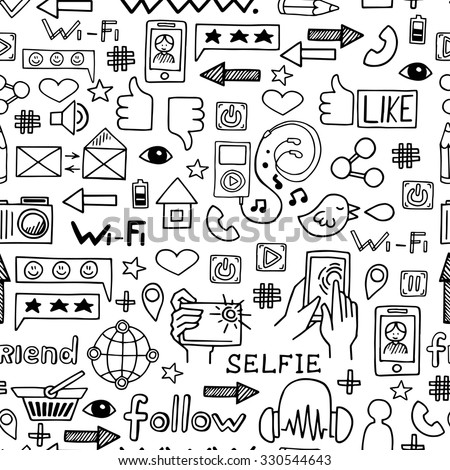 Internet icons sketch vector seamless pattern