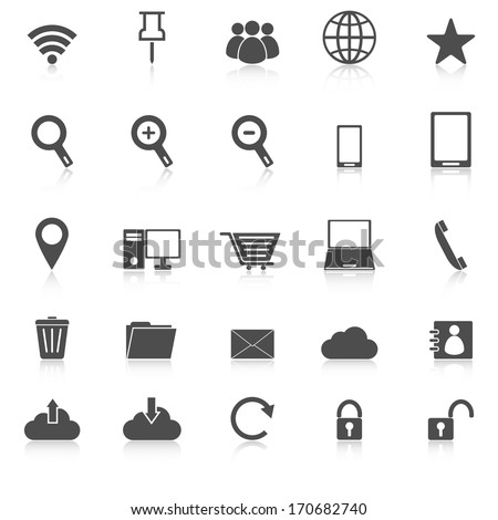 Internet icons with reflect on white background, stock vector - stock vector