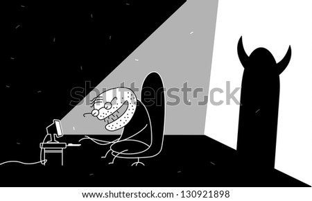 Internet maniac - stock vector