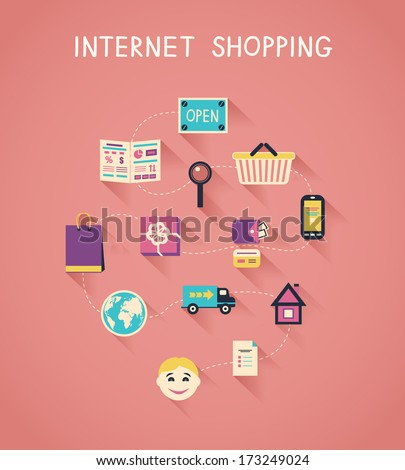 Internet marketing and online shopping infographics, how e-commerce website works vector illustration - stock vector