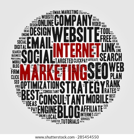 Internet marketing. Cloud of words on the topic of online sales and web site optimization. Set of thematic keywords into a circle of varying size. Gray and red. - stock vector