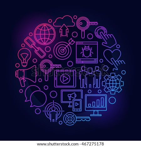 Internet marketing colorful illustration. Vector round digital marketing creative symbol made with thin line icons on dark background