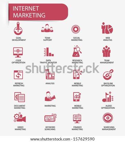 Internet Marketing icons,Red version,vector - stock vector
