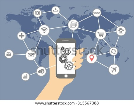 Internet of things and mobile computing concept. Network of connected mobile devices such as smart phone, tablet, thermostat or smart home. Illustration of network with hand holding tablet. - stock vector