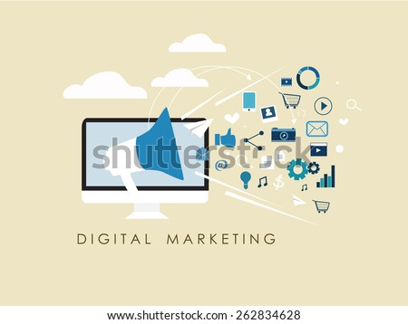 internet of things and sharing concept with flat design sign digital marketing and internet marketing social media vector - stock vector