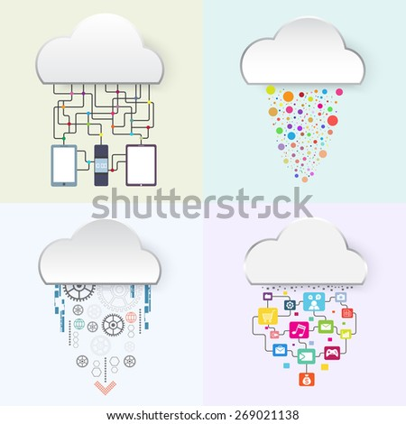 internet of things, business technology cloud concept, vector illustration - stock vector