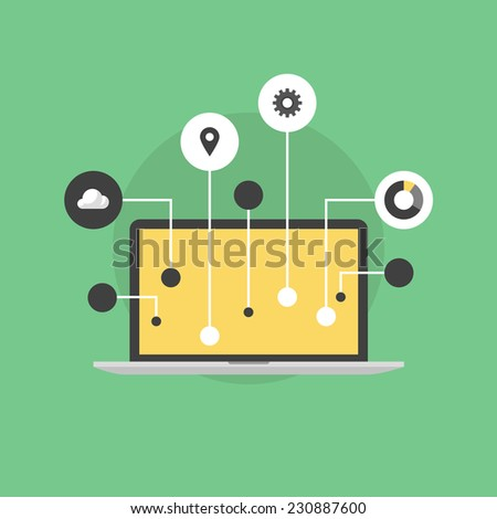 Internet of things computer technology communication, innovation in business workflow, futuristic connection and device networking. Flat icon modern design style vector illustration concept. - stock vector