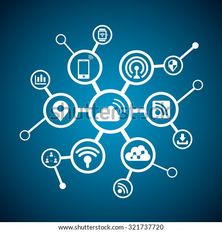 Internet of things concept - icon connect together - stock vector