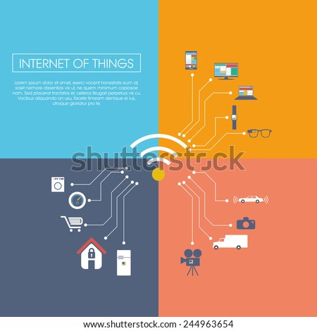 Internet of things concept vector illustration with icons for smart things in household, technology, communication. Eps10 vector illustration - stock vector