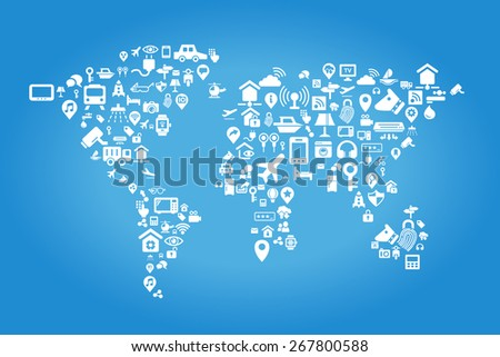 Internet of things concept - world map by Internet of things concept icons - stock vector