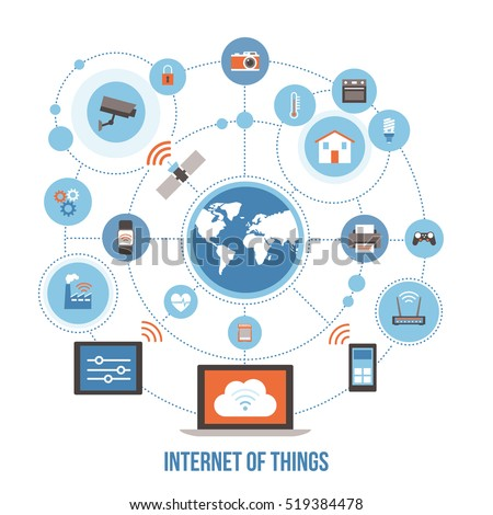 stock vector internet of things devices and connectivity concepts on a network world globe at center 519384478 internet of things stock images, royalty free images & vectors internet of things diagram at reclaimingppi.co