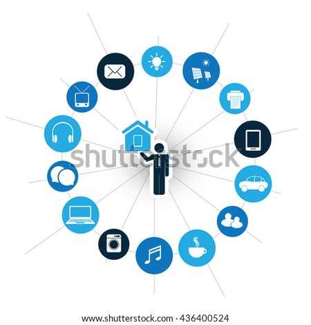 Internet Of Things, Digital Home And Networks Design Concept With Icons - stock vector