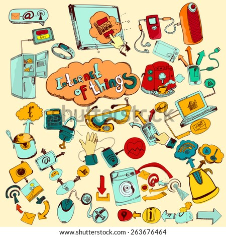 Internet of things doodles colored set with remote control home network elements vector illustration - stock vector