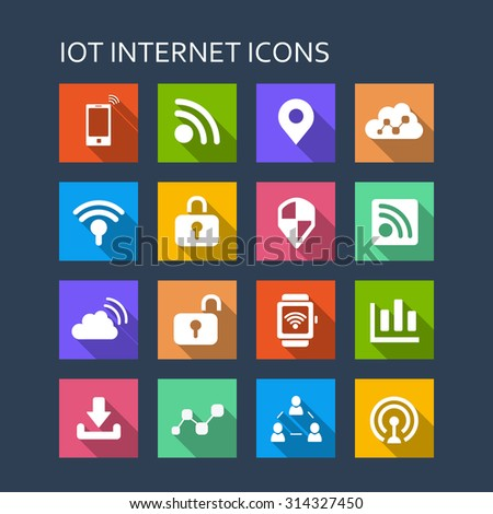 Internet of things icon set - Flat Series with long shadows - stock vector