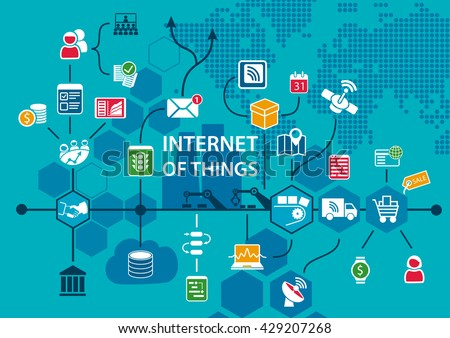 Internet of things IOT conceptual background with workflow of end to end supply chain as vector illustration - stock vector