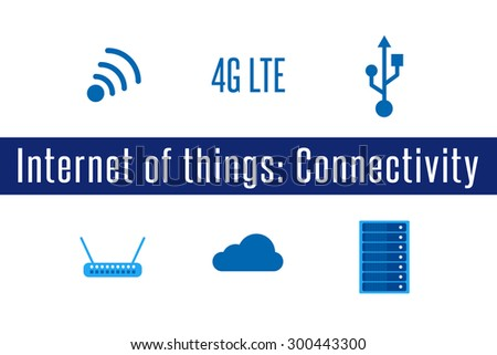 Internet of Things, IoT. Connectivity. Set of 6 flat connection icons. Vector Illustration. - stock vector