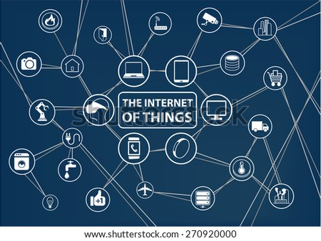 Internet of things (IoT) technology background. Connected devices like smart phone, smart watch, sensors. Network of devices with line and intersections. - stock vector