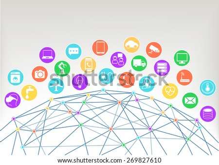 Internet of things (Iot) vector illustration background.Icons / symbols for various connected devices with wireframe of world and colorful intersections within the network. - stock vector
